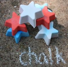 DIY Sidewalk Chalk - Cute for a kids gift! :: 1 c. plaster of paris to 3/4 c. water. It called for powdered tempera paint, but I just used my Wilton dyes. tp rolls for molds and there's some talk about crayon making too, will read when i have time.