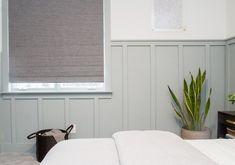 Grey board and batten | dark walls in bedroom | fabric Roman shades