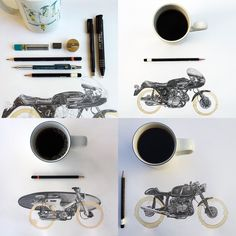 Coffee Stain Motorcycle Drawings by Carter Asmann  http://www.thisiscolossal.com/2015/02/coffee-stain-motorcycle-drawings-by-carter-asmann/