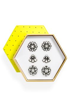 This sparkly trio of crystal stud earrings packaged in a charming, polka-dotted box makes it the perfect gift for any fashionable friend.