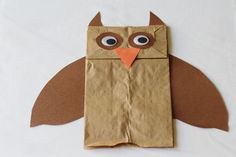 Paper bag owl puppet - perfect for pretend/story play