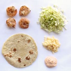 """Without a doubt one of our most popular items is our taco de camarones (or """"shrimp tacos"""") and here it is deconstructed into its most basic form. Bite into one & it may seem like a complex combination of flavors and textures are at play, but this humble taco really only consists of four chief components:  succulent garlic butter shrimp, fresh cabbage, spicy jack cheese and rich chipotle sour cream."""