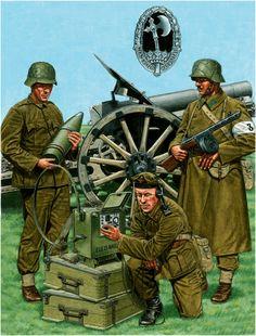 Esercito Ungherese - 1.Orvezeto, 12 Batgl. di Artiglería, dicembre 1944 2. Corporale, Reggimento Fucilieri della Forza Aerea. Divisione Szent Laszlo, dicembre 1944. 3 . 3.Hadnagy (tenente), Reggimento volontari Buda. Febbraio 1945.