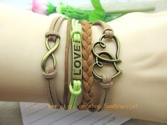 Cuff Leather Bracelet  LOVE & Lucky Number Retro by HandmadeTribe, $6.50