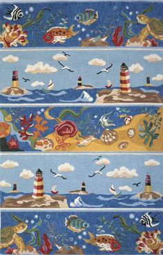 Coastal Lighthouse Scene Area Rug buy at Blue Barnacles  www.bluebarnacles.com
