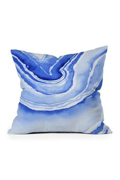 Deny Designs | Laura Trevey Blue Lace Agate Square Throw Pillow | Nordstrom Rack Beautiful Houses Interior, Blue Lace Agate, Brand It, Throw Pillows, Nordstrom Rack, Puerto Rico, Creative, Boxes, Crafts
