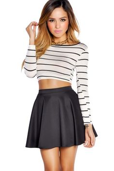 high waisted skirt and crop top so simple and chic | What to Wear ...