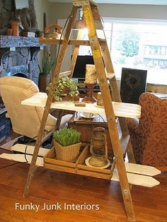 A cool way to repurpose an old ladder. Love it as a plant stand for inside. Move it outside in the summer.