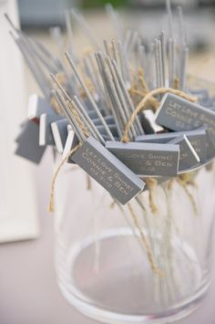 A great alternative to throwing rice/birdseed/or rose petals at the bride & groom as they leave.  These sparklers and matches with the wedding monogram is sure to persuade the guests to participate easily. Saw as a decorative element with small glasses on the tables also pretty good, right?