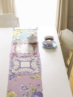 Hankie table runner... never would have thought to do this!