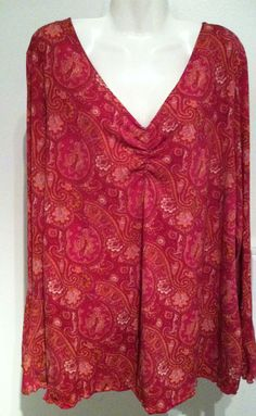 INC International Concept PLUS SIZE Boho Paisley Stretch Top Gypsy Bell Sleeves Size 2X