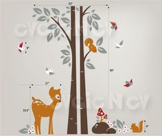 Children Wall Decals - Squirrels On the Tree with Bambi Baby Deer and Birds - evgieNev