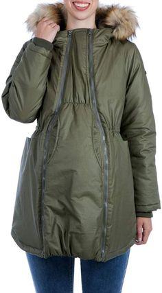 635b8c75302 Modern Eternity Sofia Waxed 3-in-1 Maternity Nursing Jacket with Faux Fur  Trim