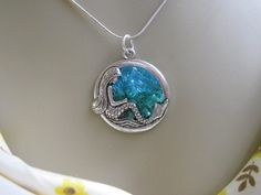 Stained Glass Mermaid Necklace, Silver Glass Mermaid