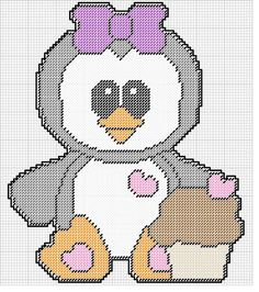 PENGUIN WITH A CUPCAKE WALL HANGING by KATHY