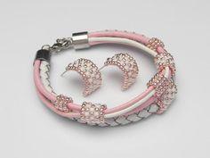 komplet bransoletka kolczyki biało-różowy, toho