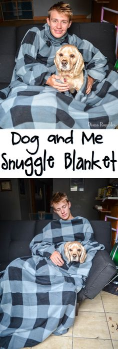 Dog and Me Snuggle Blanket Tutorial AD #PedigreeGives #YouBuyWeGive -This tutorial shows you how to make a Snuggie with a hole for your pet that will keep you and your dog warm together on the sofa.