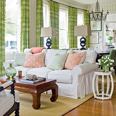 I love the green curtains!