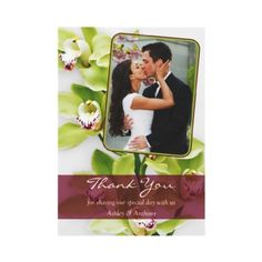 Burgundy and green Cymbidium orchid wedding photo thank you card. Photo and text is customizable. #weddings #orchids