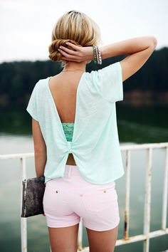 Opened mint green shirt So cute for those hot days