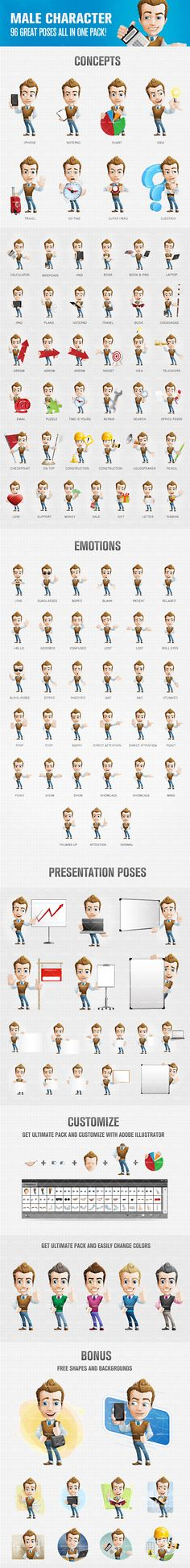 Male cartoon character presented in 96 poses and moods. That great amount of postures will come in handy for any situation. We have designed a male cartoon c