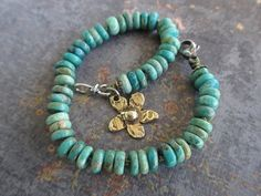Turquoise knotted bracelet  Flora  green blue by slashKnots