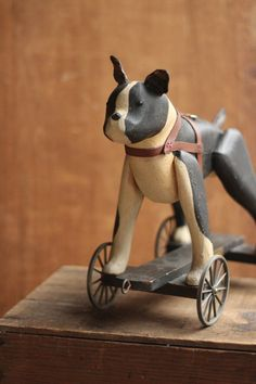 Sculpture and Carvings — G. Veterinarian Office, Fork Art, Pull Toy, Early American, Boston Terrier, Pup, Folk, Carving, Antiques