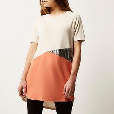 Beige colour block oversized t-shirt - plain t-shirts / vests - t shirts / vests - women
