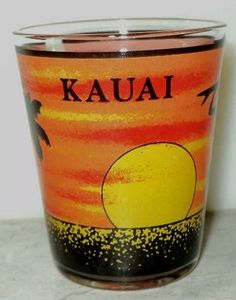 Kauai Silhouette Surfer Sunset Shot Glass Shooter Black - This Item is for sale at LB General Store http://stores.ebay.com/LB-General-Store ~Free Domestic Shipping ~