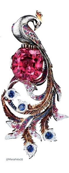#Ruby #Diamond #Sapphire #Peacock #Brooch #Pins #Jewellery
