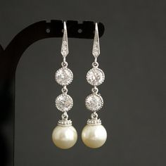 Wedding Pearl Jewelry Bridal Earrings Cubic by poetryjewelry Wedding Earrings, Silver Earrings, Pearl Earrings, Pearl Jewelry, Wedding Jewelry, Jewelery, Wedding Things, Wedding Gifts, Ivory Pearl