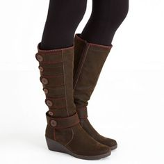 Joe Browns Brown funky button wedge boots | Debenhams