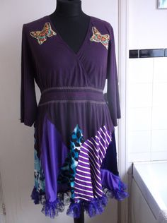blue purple plus size recycled peacock by MissChieviousMagpie
