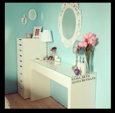 Ikea Malm dressing table and Alex drawer set up