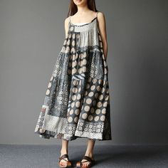 Dress - Women Summer Retro Style Loose Sling Dress