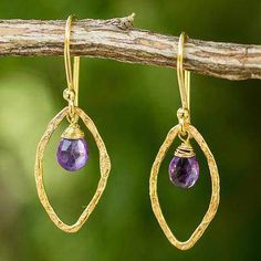 Swinging Ellipses Gold Plated Handcrafted Earrings with Amethyst