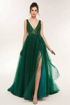 Sexy Slit Prom Dress,Green Tulle Pageant Dress,V-neck Green Evening Dress · Sancta Sophia · Online Store Powered by Storenvy Prom Dress 2014, Tulle Prom Dress, Slit Dress, The Dress, Homecoming Dresses, Green Prom Dresses, Quince Dresses, Pageant Dresses, Quinceanera Dresses