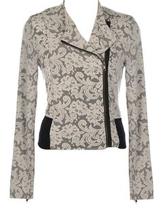 Embroidered Moto Jacket: Features a zipped lapel for total coverage or a relaxed layout, amazing mesh body with an ivory floral lace shell and contrast liner for pop, contrast zippers at each cuff, and black side patches to finish.