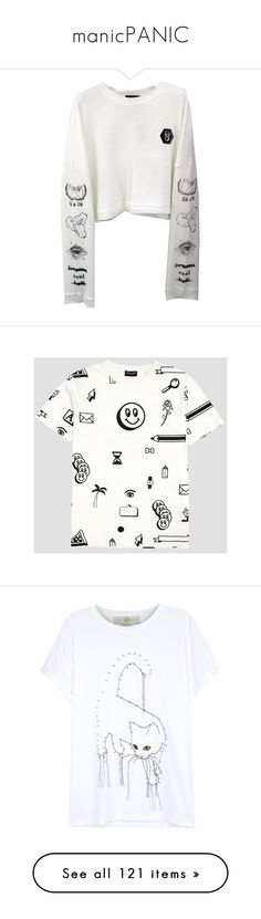 """manicPANIC"" by escape-reality ❤ liked on Polyvore featuring tops, t-shirts, white top, cotton t shirts, white tee, white cotton t shirts, cotton tee, dot t shirt, polka dot t shirt and polka dot top"