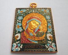 BEAUTIFUL VINTAGE RUSSIAN TRAVEL ORTHODOX ICON KAZAN VIRGIN MARY & JESUS CHILD