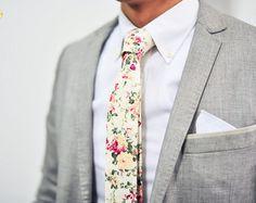 Cream White Floral Tie, Floral Tie, Vintage Floral Tie, Vanilla Floral Tie, Wedding, Christmas deal, Christmas present