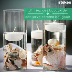Light up your living room with glass canisters. Utiliser des bocaux de conserve comme bougeoir.