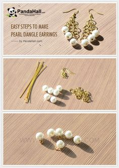 Easy Steps to Make Pearl Dangle Earrings from pandahall.com