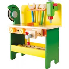 The Power Tools Wooden Workbench is equipped with a detachable drill, a fixed circular saw and a vice. The workbench comes with lots of tools including a hammer, screwdriver, spanner and lots of screws, nuts and perforated wooden plates to build things. Wooden Toy Cars, Wooden Baby Toys, Wooden Dolls, Wood Toys, Wood Projects That Sell, Diy Wood Projects, Micro Creche, Kids Workbench, Diy Bebe