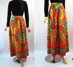 Vintage 1970s Hostess Skirt Orange and Green Paisley Floor Length W25 H54 from Alley Cats Vintage at rubylane.com