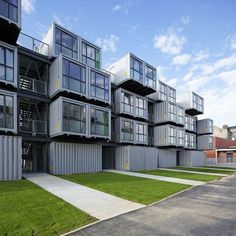 Shipping Container Homes: Cattani Architects, Cité A Docks - Le Havre, France… Container Architecture, Container Buildings, Architecture Design, Container Houses, Cargo Container, Green Architecture, Used Shipping Containers, Shipping Container House Plans, Le Havre France