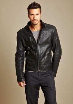 Zip Detail Leather Motorcycle Jacket