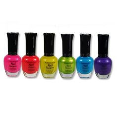 Kleancolor Neon Nail Lacquer 6 Colors Set: Kleancolor nail polish featuring long lasting pretty colors with new bottle design. It is pretty, it is good quality, yet affordable price. Neon Nail Polish, Nail Polish Sets, Neon Nails, Gel Nail Art, Gel Polish, Glam Nails, Bling Nails, Makeup Designs, Nail Designs