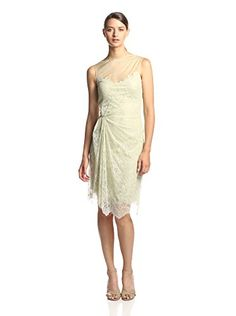 Valentino Women's Draped Lace Dress Floral-motif lace dress with sheer yoke, asymmetrical pleating and draping, hidden side zipper