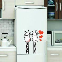 Adesivo decorativo para geladeira - girafas.